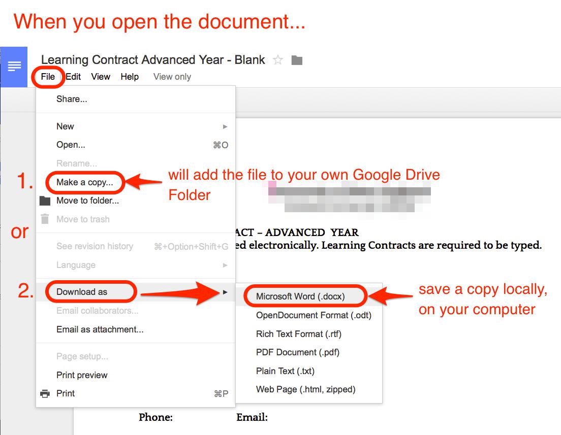 make a copy or download a Google file