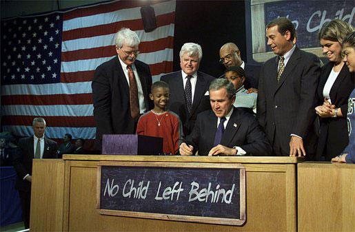 President George W. Bush signs education legislation, No Child Left Behind